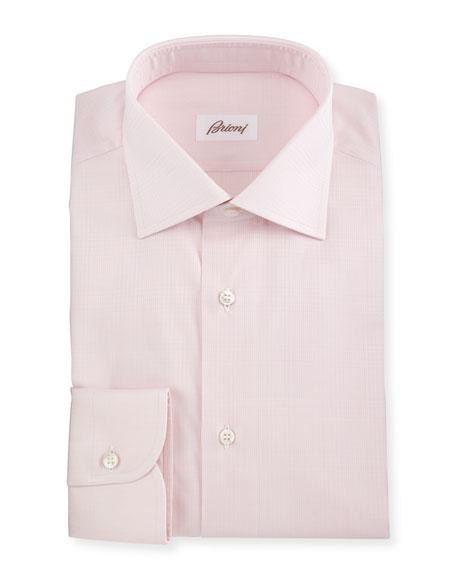 Brioni Jacquard Tonal-Plaid Woven Dress Shirt, Pink