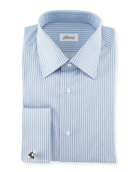 Alternating Stripes Woven Dress Shirt, Assorted