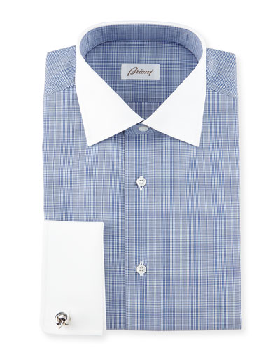 Contrast-Collar Glen Plaid Dress Shirt, Dark Blue