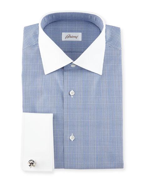 Brioni Contrast-Collar Glen Plaid Dress Shirt, Dark Blue