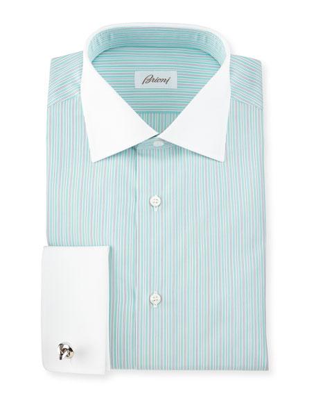 Brioni contrast collar striped french cuff dress shirt for French collar dress shirt