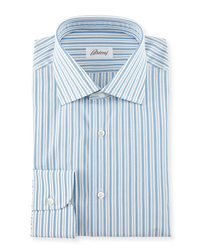 Pavone Striped Woven Dress Shirt, White/Blue