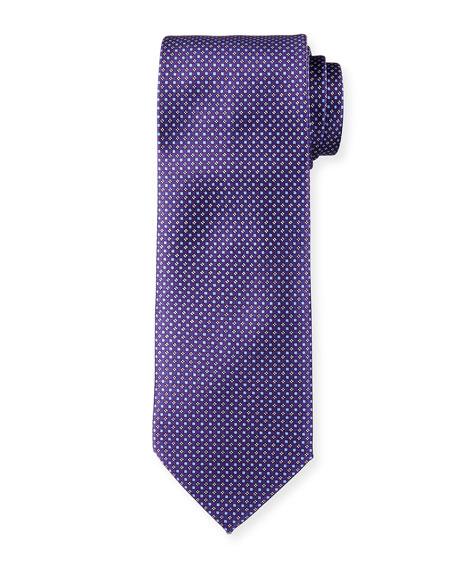 Brioni Neat Floral & Box-Print Silk Tie, Purple/Blue
