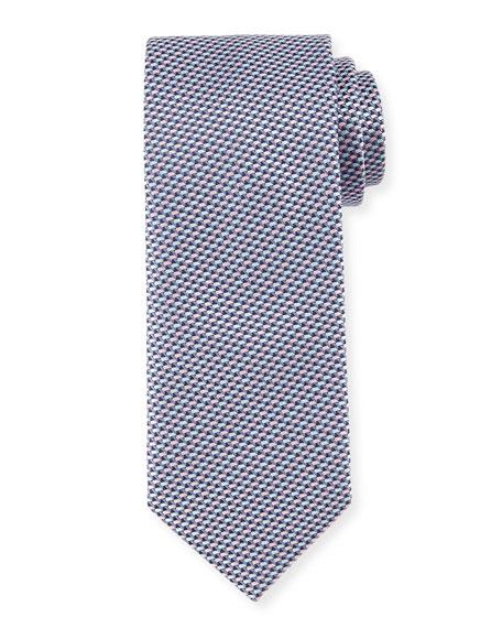 Neat Basketweave Silk Tie, Pink