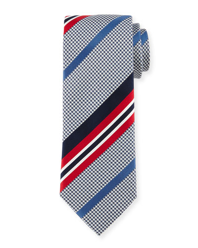 Satin-Striped Houndstooth Silk Tie, Red