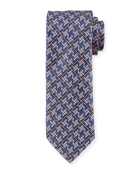 Plaid Diamond-Puzzle Silk Tie, Pink/Navy