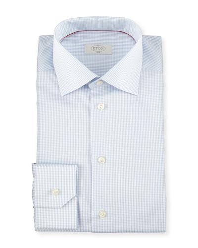 Slim-Fit Graph-Check Woven Dress Shirt, Light Blue
