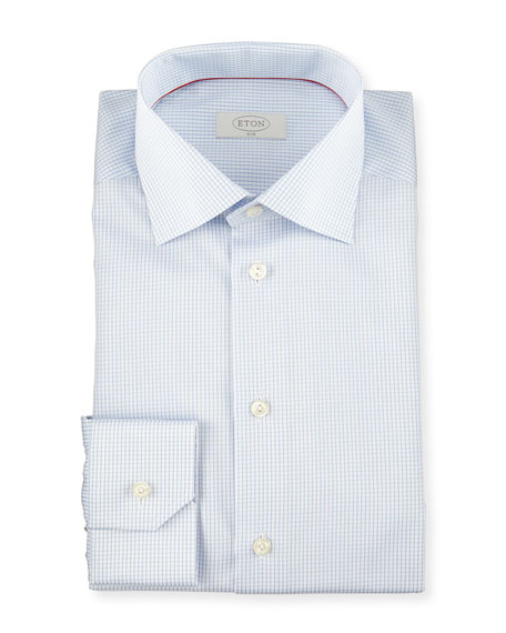 Slim-Fit Graph-Check Woven Dress Shirt, Light Blue