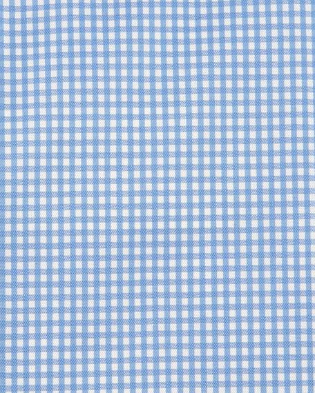 Slim-Fit Gingham-Check Woven Dress Shirt, Blue