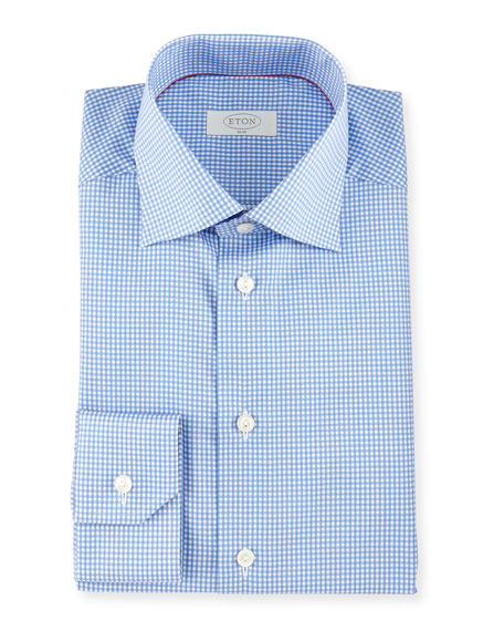 Eton Slim-Fit Gingham-Check Woven Dress Shirt, Blue