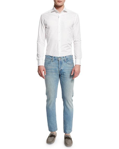 Straight-Fit Light Wash Denim Jeans, Light Blue