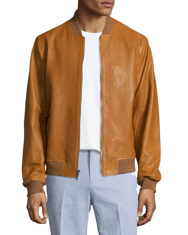 d59d94e3df Michael Kors Zip-Up Leather Bomber Jacket