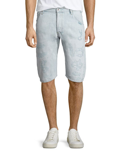 Arc 3D 1/2-Length Denim Shorts, Light Blue