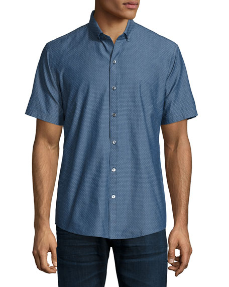 Zachary Prell Dobby-Print Short-Sleeve Woven Shirt, Blue