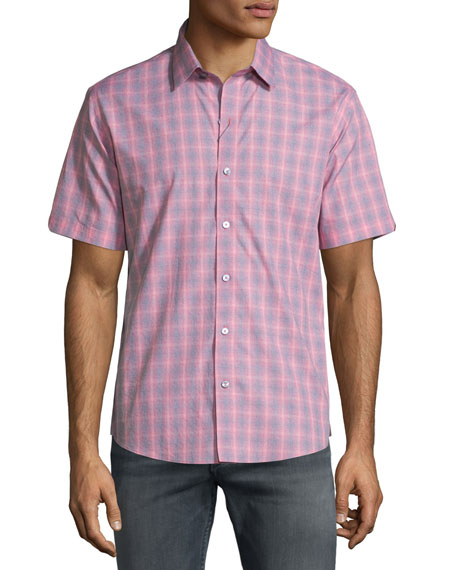 Zachary Prell Plaid Short-Sleeve Woven Shirt, Red