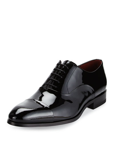 Cap-Toe Patent Leather Oxford Shoe, Black