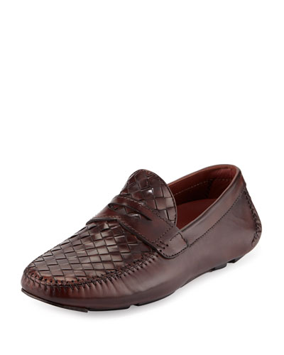 Woven Leather Penny Driver, Brown