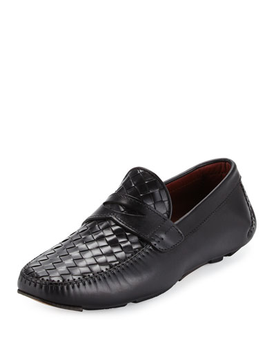Woven Calf Leather Penny Driver, Black