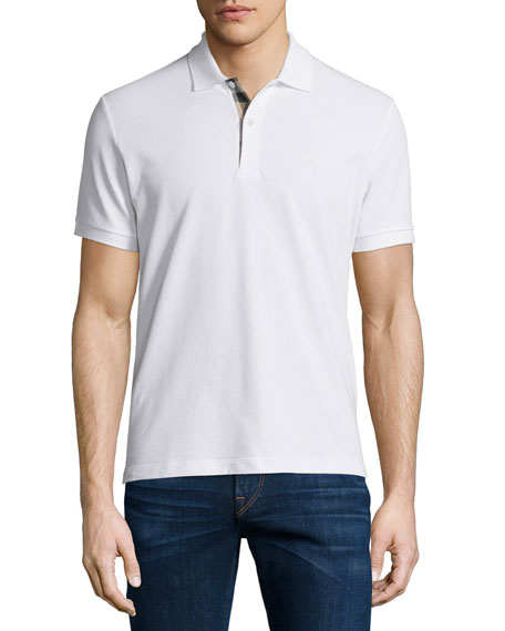 Short-Sleeve Oxford Polo Shirt, White