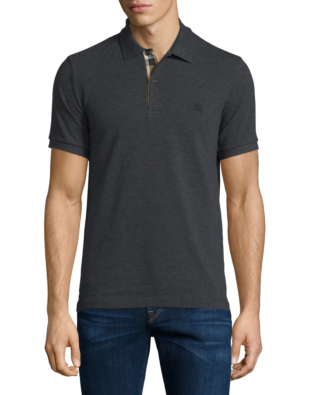 Burberry Short Sleeve Oxford Polo Shirt Dark Charcoal Melange