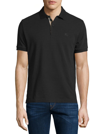 Burberry Short-Sleeve Oxford Polo Shirt, Black