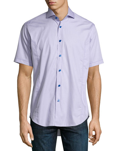 Short-Sleeve End-on-End Sport Shirt, Purple