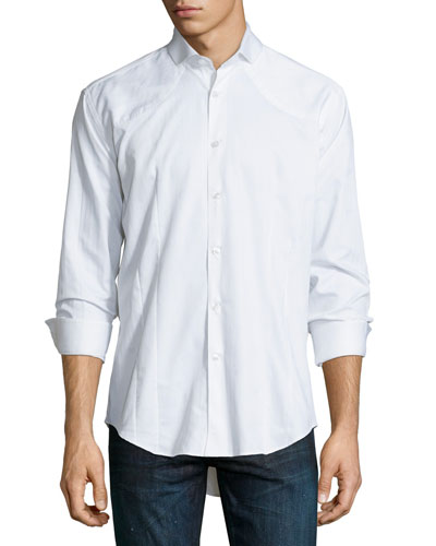 Tonal Jacquard Long-Sleeve Sport Shirt, White