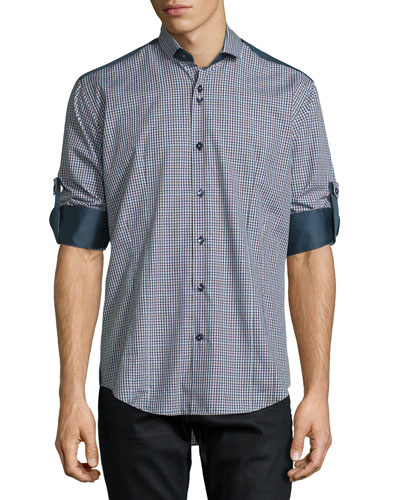 Plaid Long-Sleeve Sport Shirt w/Solid Panels, Navy
