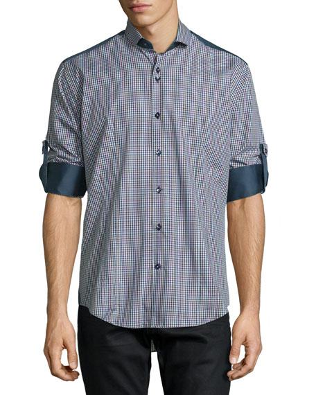 Bogosse Plaid Long-Sleeve Sport Shirt w/Solid Panels, Navy