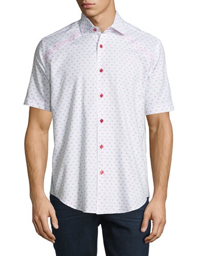 Mini-Patterned Short-Sleeve Sport Shirt, White