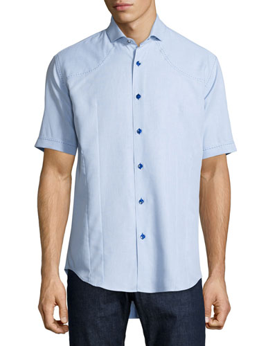 Short-Sleeve Sport Shirt, Light Blue