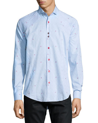 Flower-Print Long-Sleeve Sport Shirt, Light Blue
