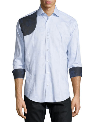 Floral Jacquard Long-Sleeve Sport Shirt, Light Blue
