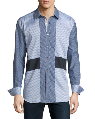 Patchwork Long-Sleeve Sport Shirt, Gray