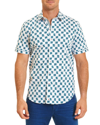 Clip It Printed Short-Sleeve Woven Shirt, White