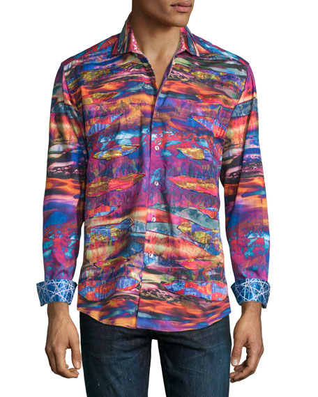 Robert Graham Captains Desert Multi Digital-Print Sport Shirt,