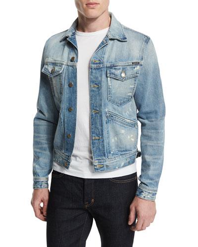 Western-Style Light-Wash Painted Denim Jacket, Light Denim