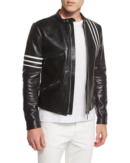 TOM FORD Contrast Stripes Leather Moto Jacket, Black