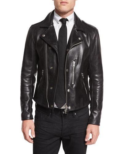 Asymmetric Leather Biker Jacket, Black
