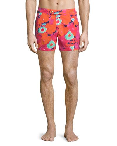 Floral Camo-Print Swim Shorts, Pink/Orange