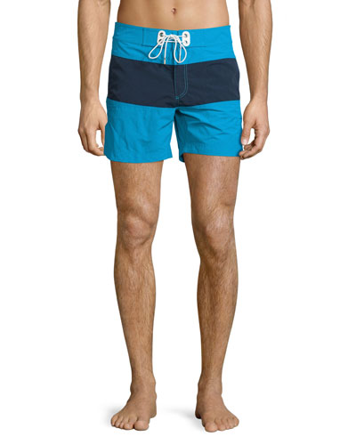 Mid-Length Colorblock Swim Trunks, Aqua/Navy