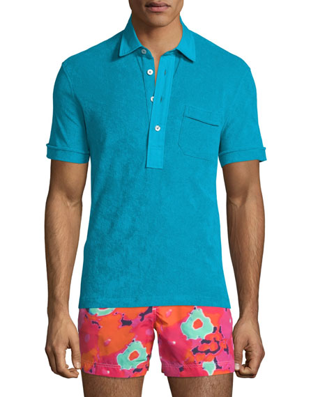 TOM FORD Terry Cloth Short-Sleeve Polo Shirt, Aqua