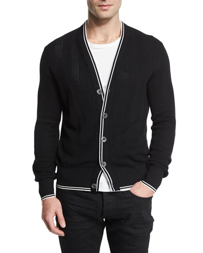 Textured-Rib Cardigan with Tipped Trim, Black