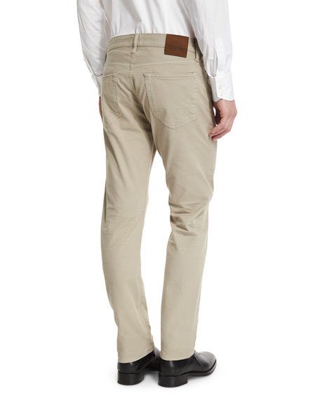 Straight-Fit Solid Wash Stretch Denim Jeans, Tan