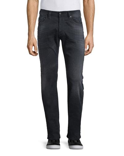 Larkee 0854A Distressed Denim Jeans, Black