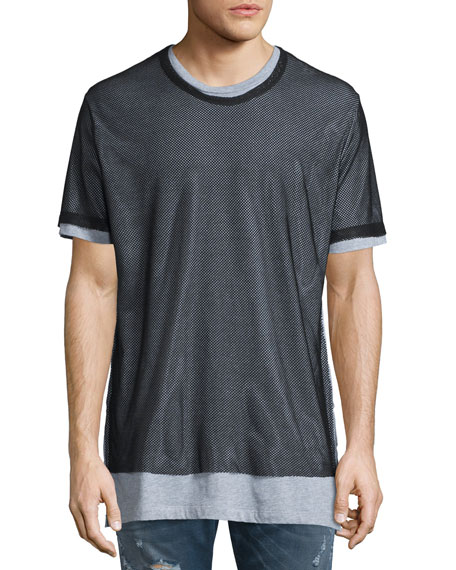 Diesel Seaweed Short-Sleeve T-Shirt W/Mesh Overlay, Black
