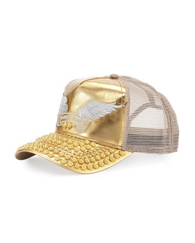 Golden Studded-Bill Baseball Cap, Gold