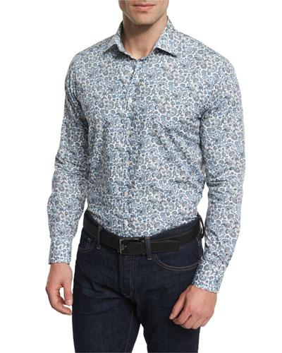 Multi Floral-Print Long-Sleeve Sport Shirt, Multicolored