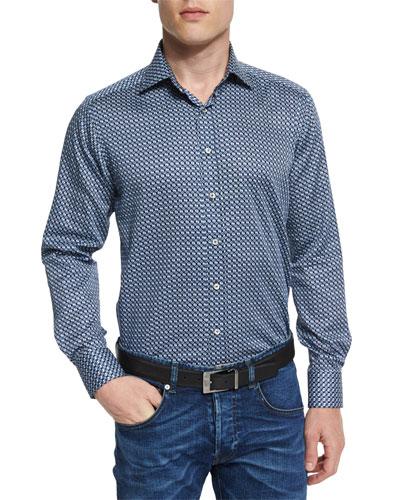 Geo-Print Long-Sleeve Sport Shirt, Blue Multi