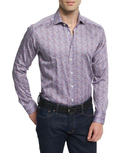 Paisley-Print Long-Sleeve Sport Shirt, Multicolored